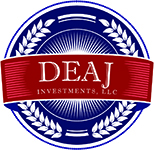 DEAJ logo, red and blue with laurels